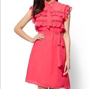 NWT New York & Company Ruffled Belted Shift Dress